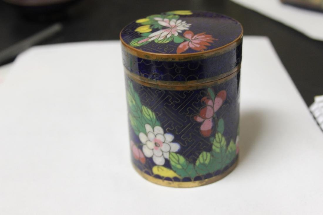 A Chinese Cloisonne Tobacco box or Trinket Box - 3