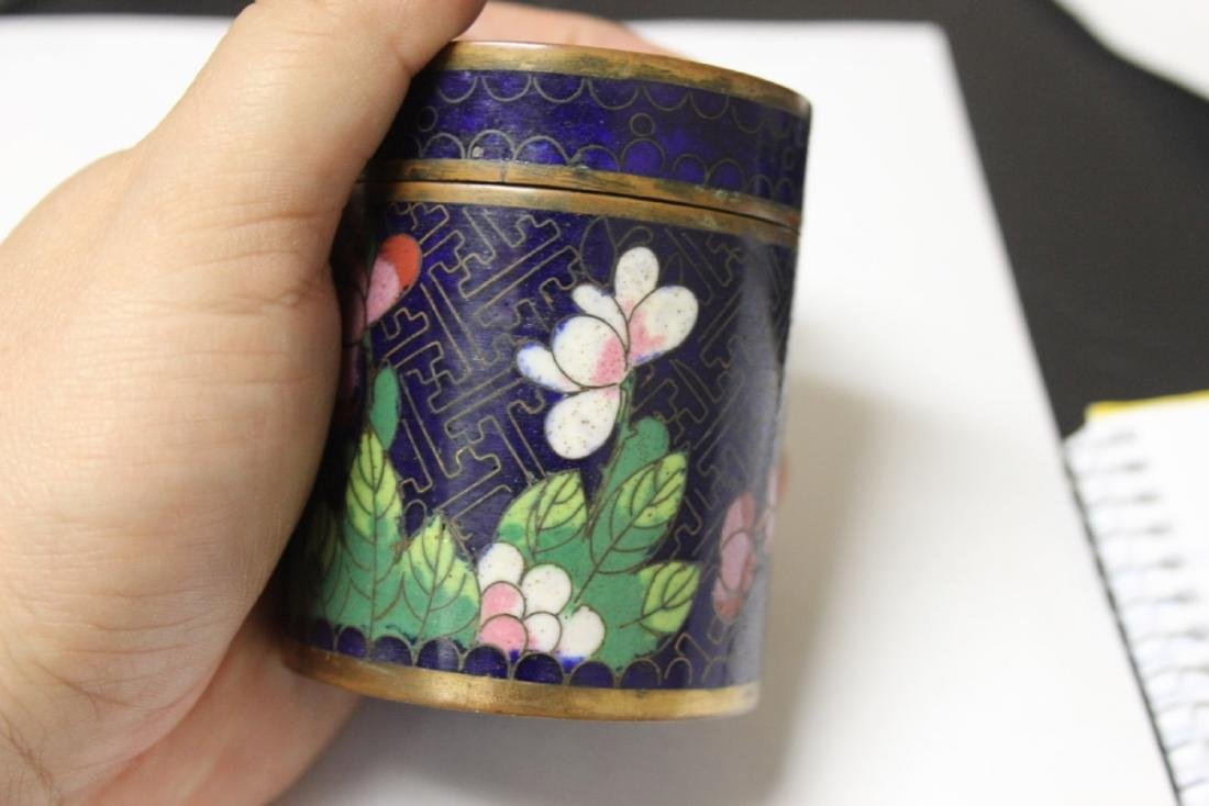 A Chinese Cloisonne Tobacco box or Trinket Box - 5
