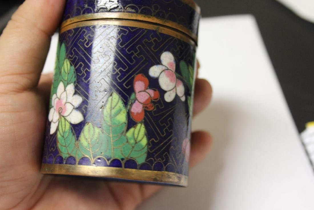 A Chinese Cloisonne Tobacco box or Trinket Box - 7