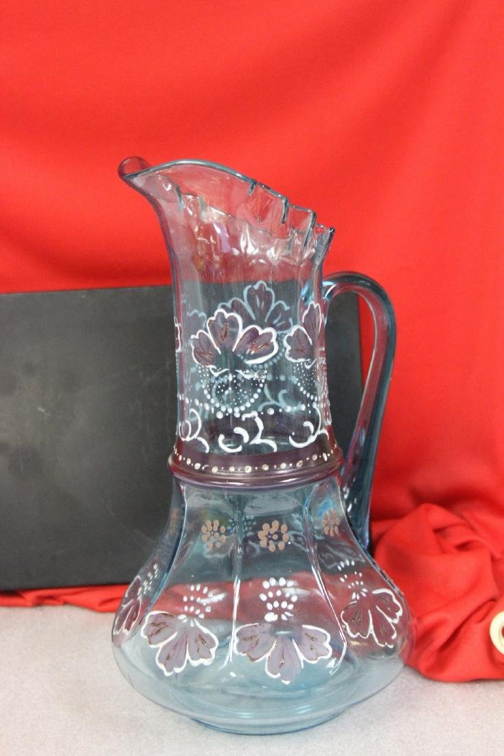 A Moser? Hand Painted Glass Pitcher - 3