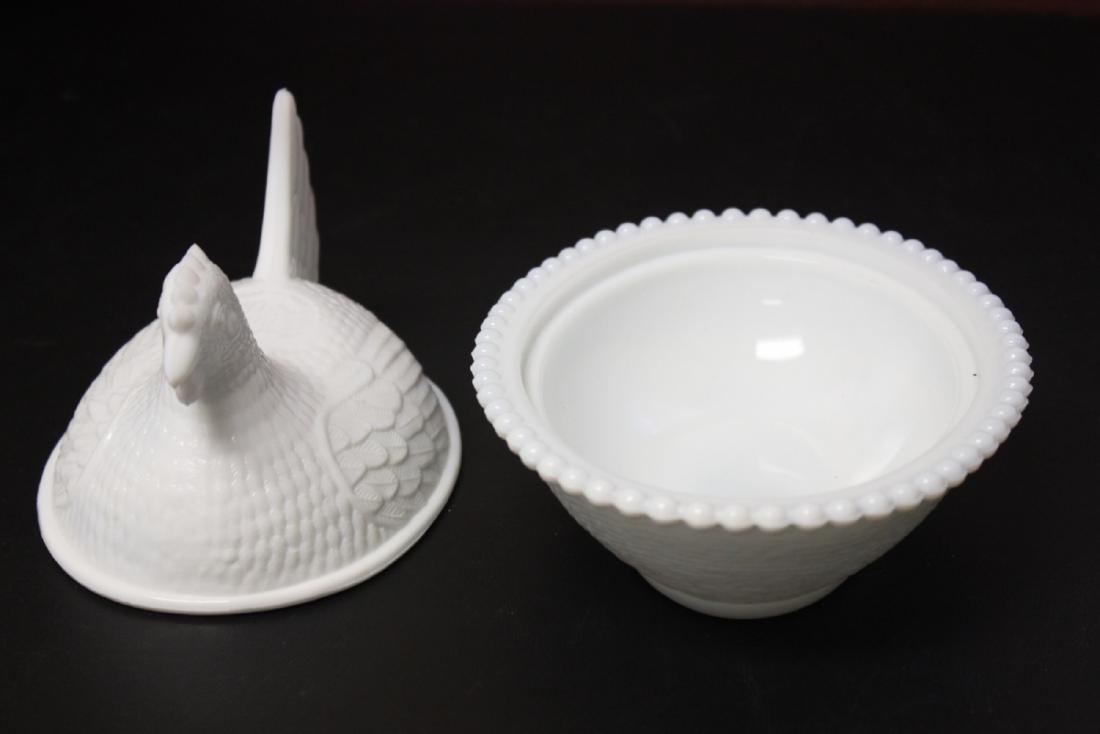 A Milk Glass Chicken Candy Dish - 2