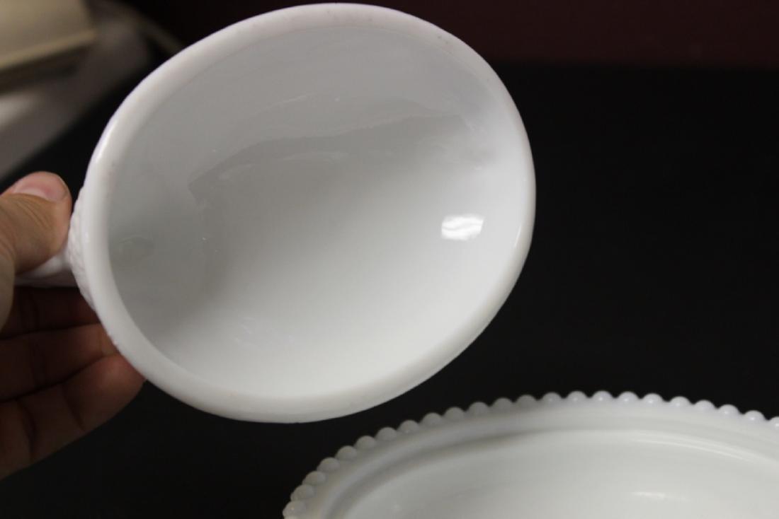 A Milk Glass Chicken Candy Dish - 4
