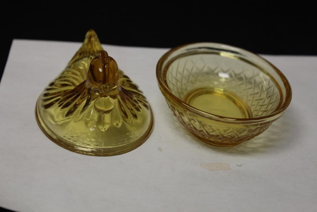 An Amber Glass Chicken Candy Dish - 3