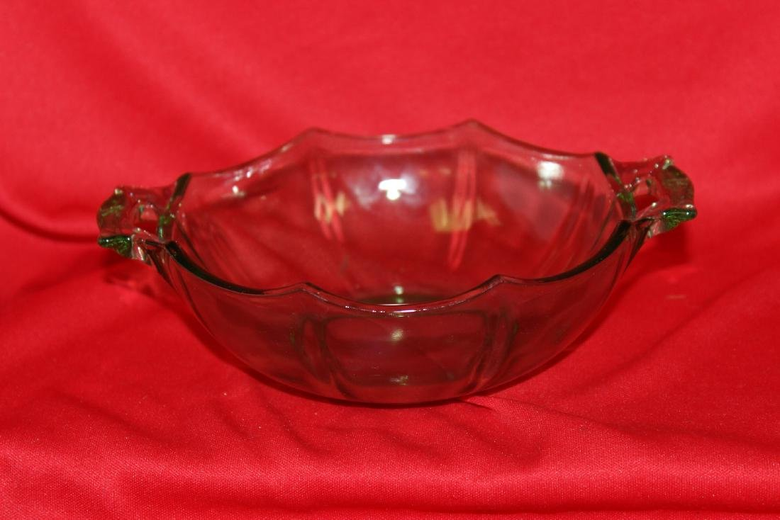 A Two Handle Vaseline Glass Bowl - 4