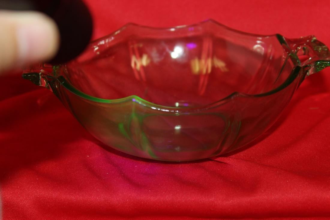 A Two Handle Vaseline Glass Bowl - 5
