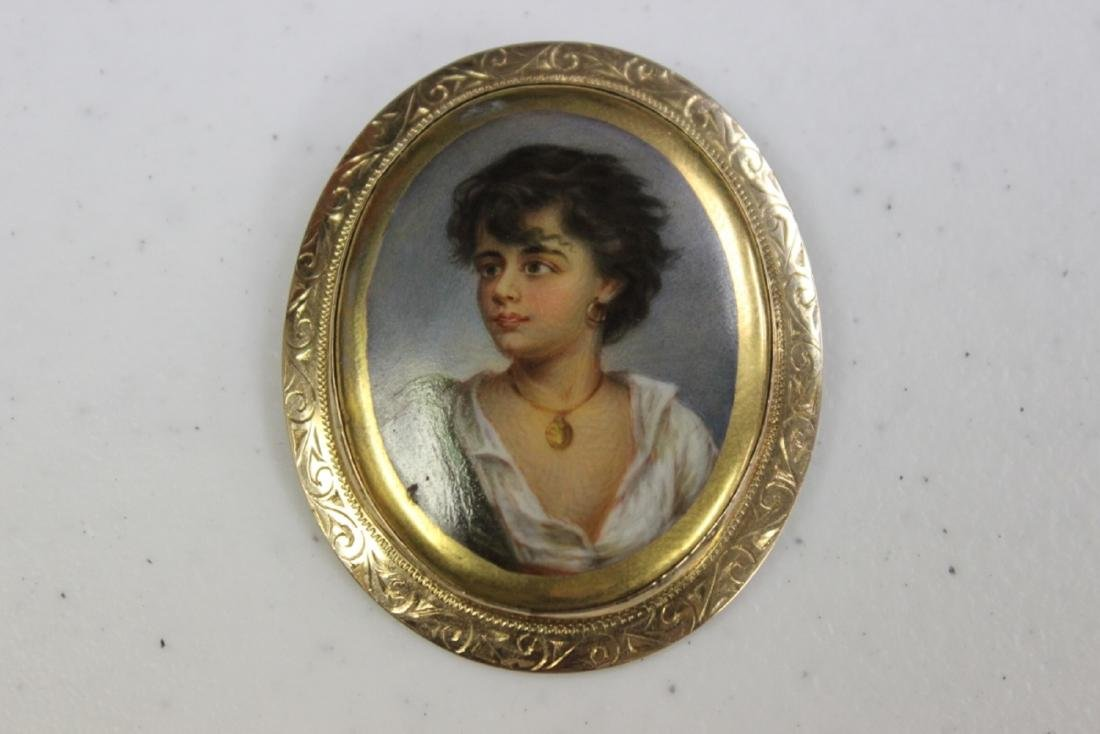 A Painting on Porcelain Brooch or Pin