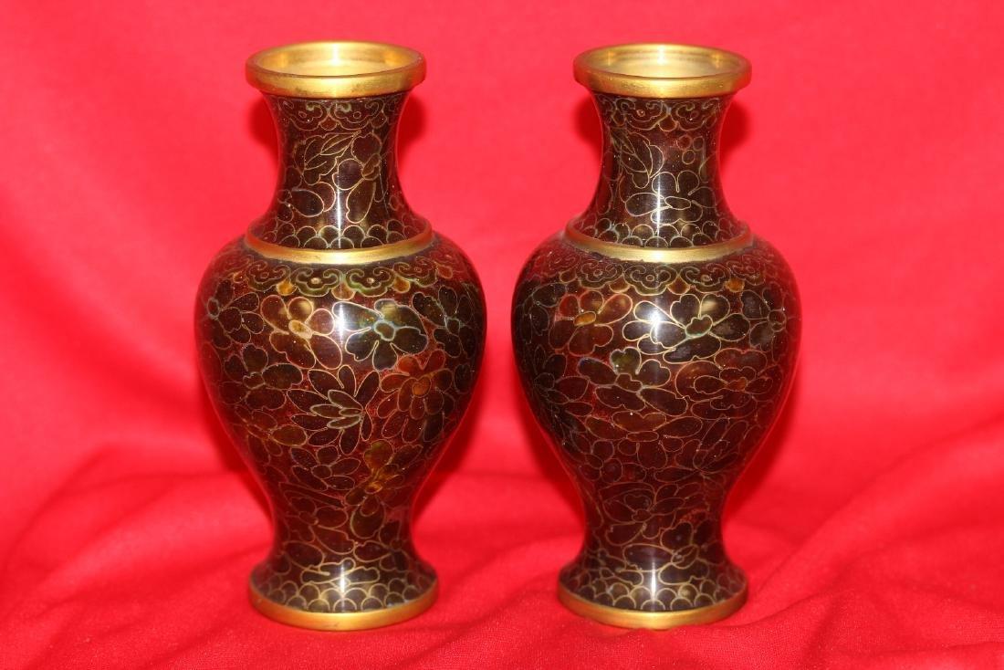 A Pair of Cloisonne Vase - 2