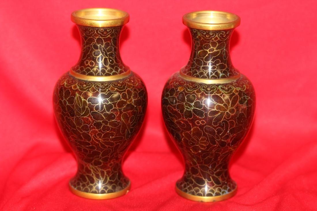 A Pair of Cloisonne Vase - 3