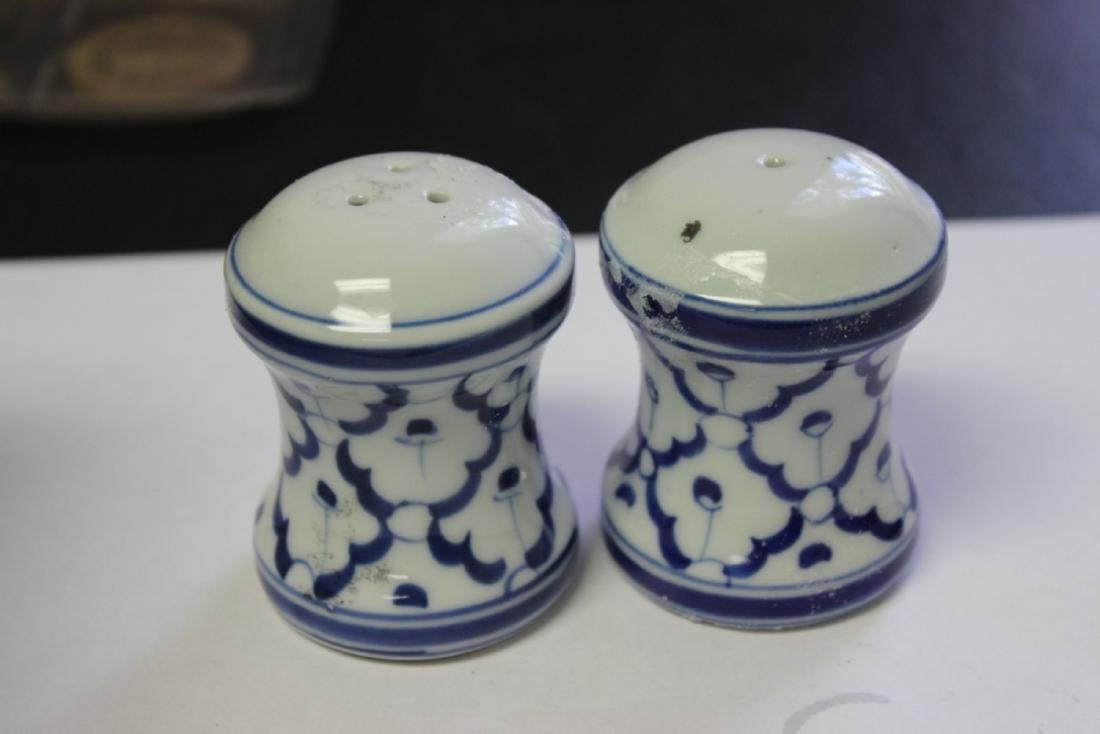 Pair of Vintage Blue and White Salt and Pepper Shakers
