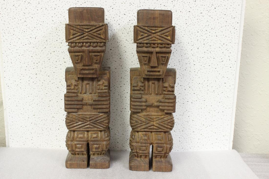 Lot of Two Solid Wood Vintage Figure