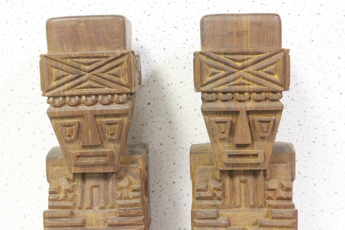 Lot of Two Solid Wood Vintage Figure - 2