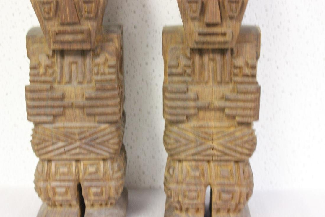 Lot of Two Solid Wood Vintage Figure - 3