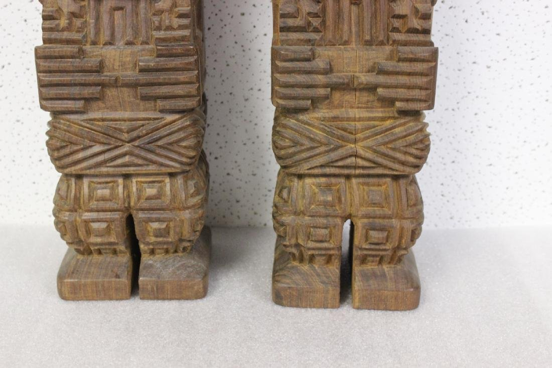 Lot of Two Solid Wood Vintage Figure - 4