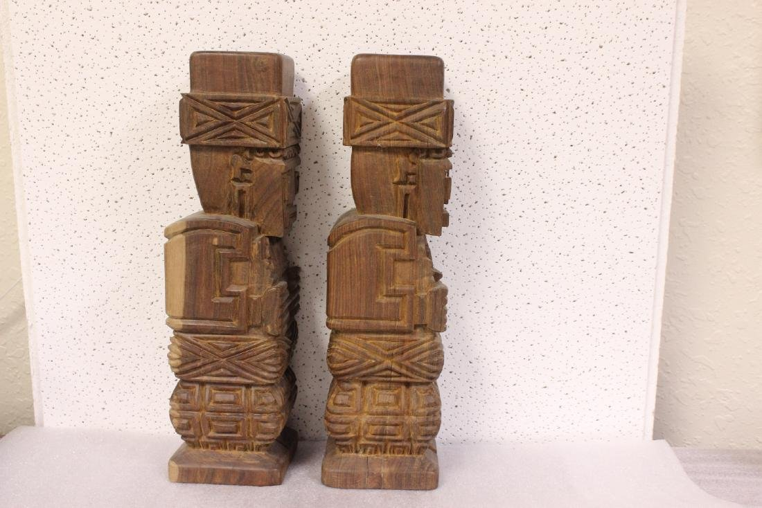Lot of Two Solid Wood Vintage Figure - 7