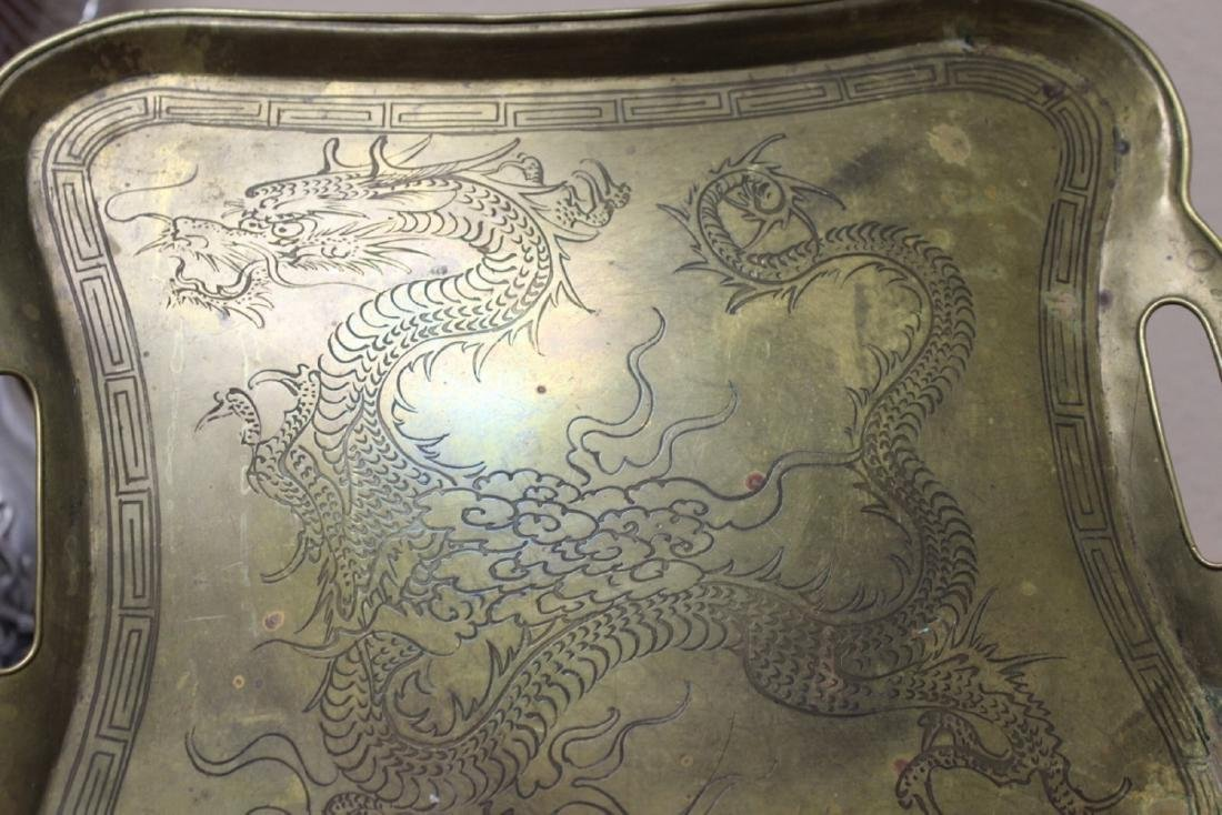 A Chinese Dragon Brass Tray - 2