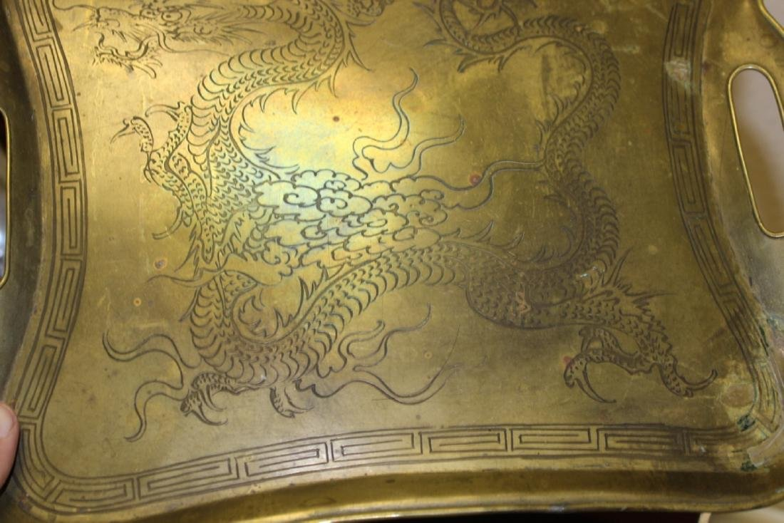 A Chinese Dragon Brass Tray - 3