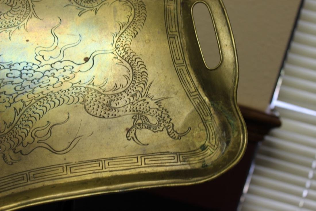 A Chinese Dragon Brass Tray - 4