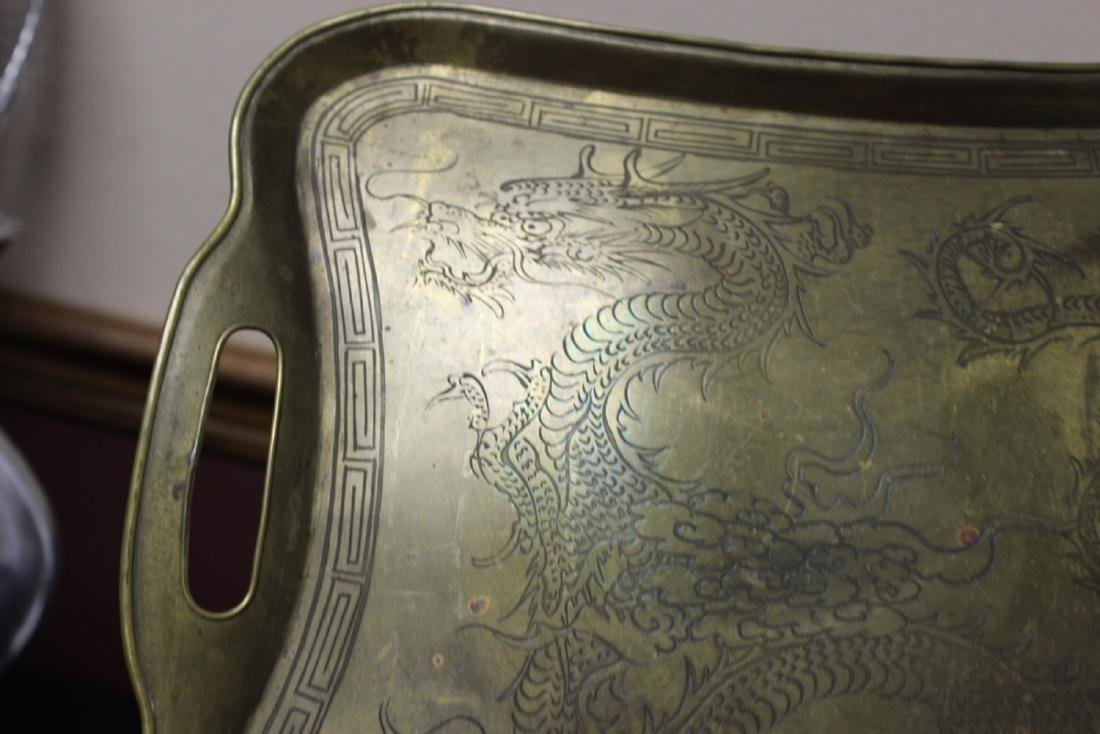 A Chinese Dragon Brass Tray - 5