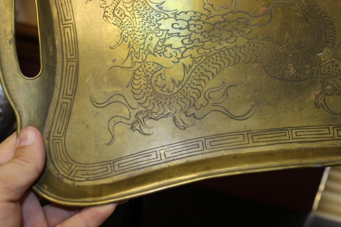 A Chinese Dragon Brass Tray - 7