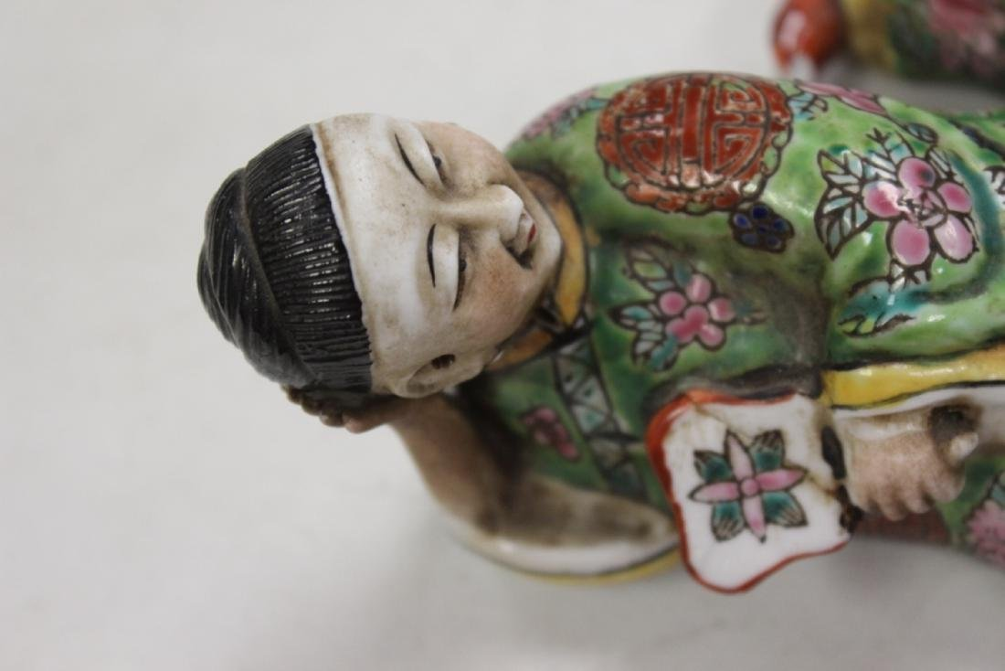A Pair Of Early To Mid 20th Century Chinese Reclining - 3