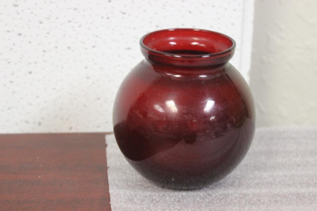 A Ruby Red Glass Vase - 2