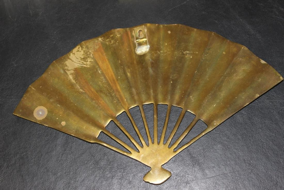 An Oriental Brass Fan Wall Hanger - 8