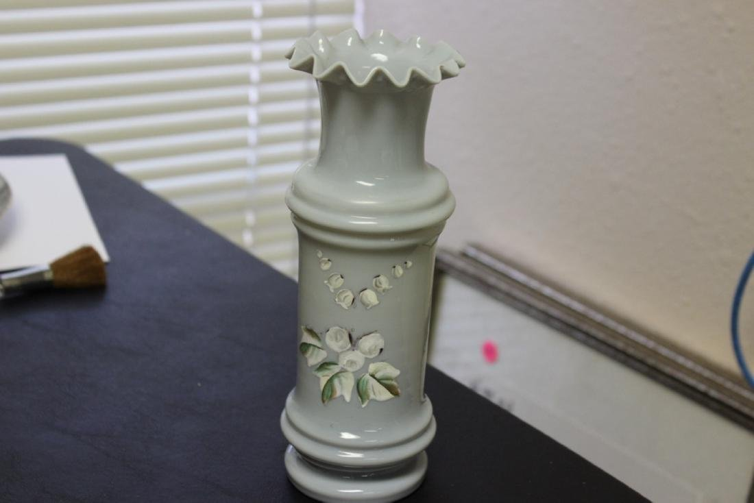 A Hand Blown Bristol Glass Ruffled Edge Vase