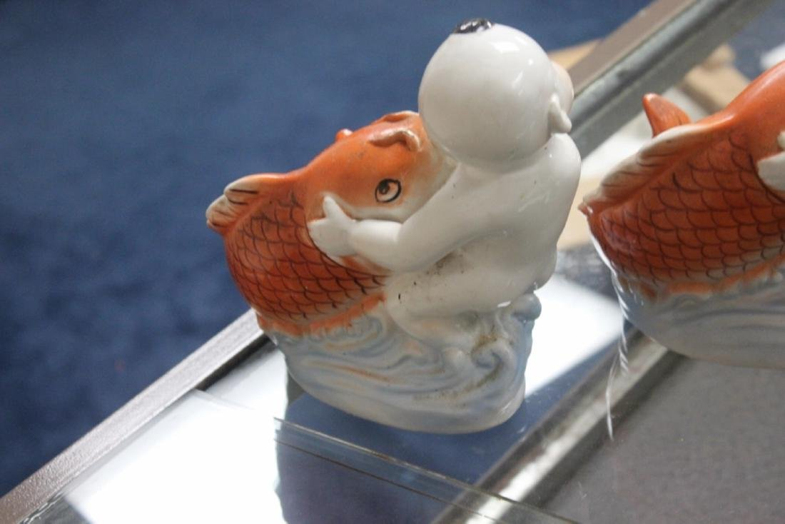 A Pair Of Chinese  Porcelain Boys With Fishes - 5