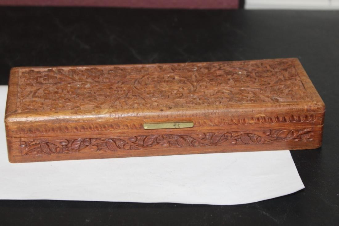 A Chinese Well Carved Long Wooden Box