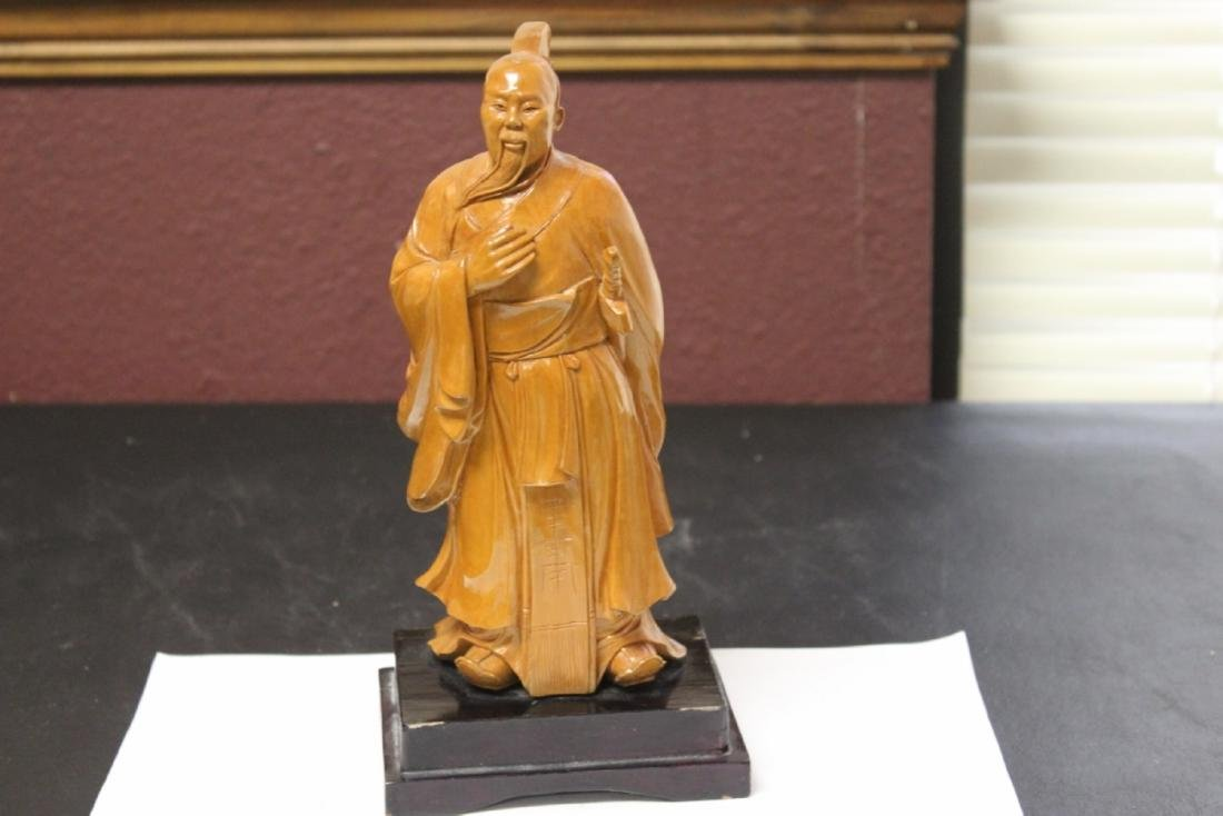 A Well Carved Box Wood Chinese Emperor on Stand