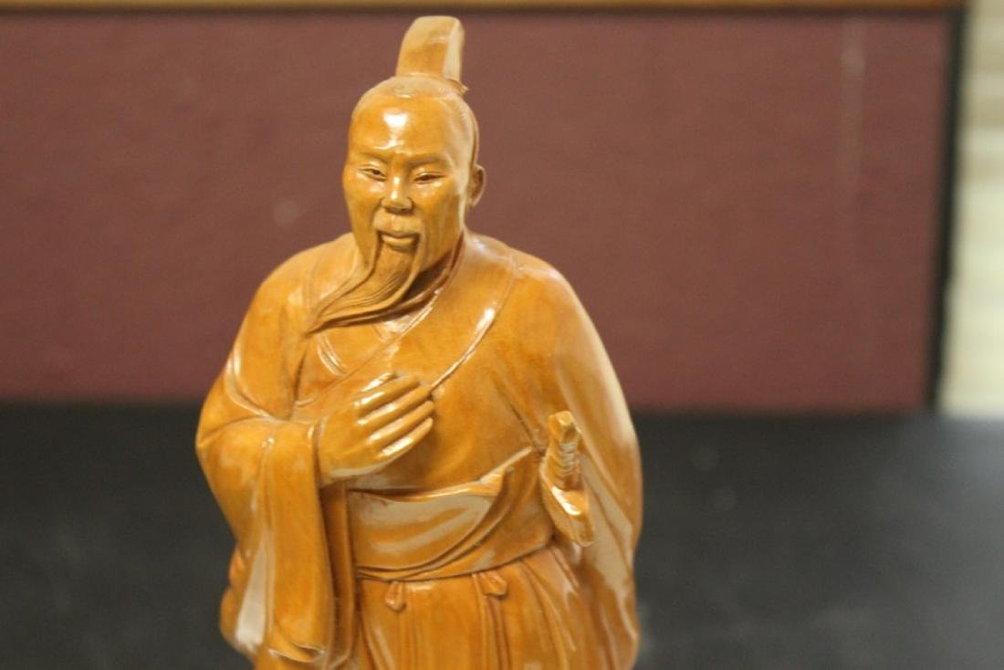 A Well Carved Box Wood Chinese Emperor on Stand - 2