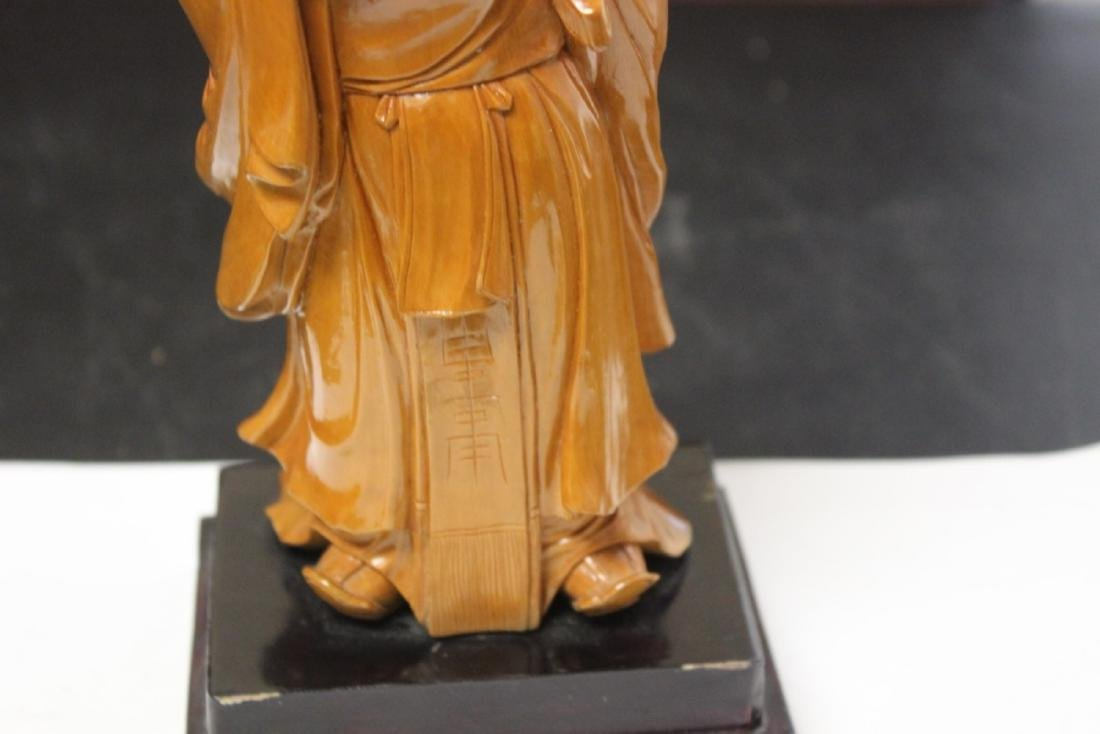 A Well Carved Box Wood Chinese Emperor on Stand - 3