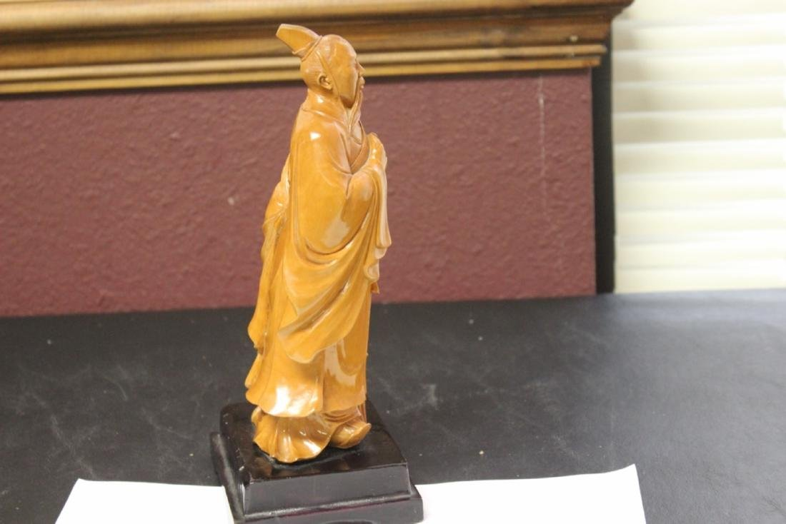A Well Carved Box Wood Chinese Emperor on Stand - 5