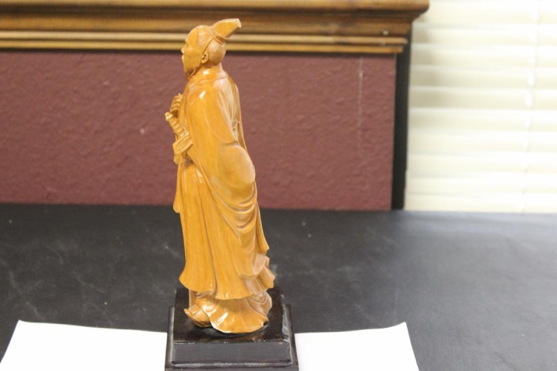 A Well Carved Box Wood Chinese Emperor on Stand - 6