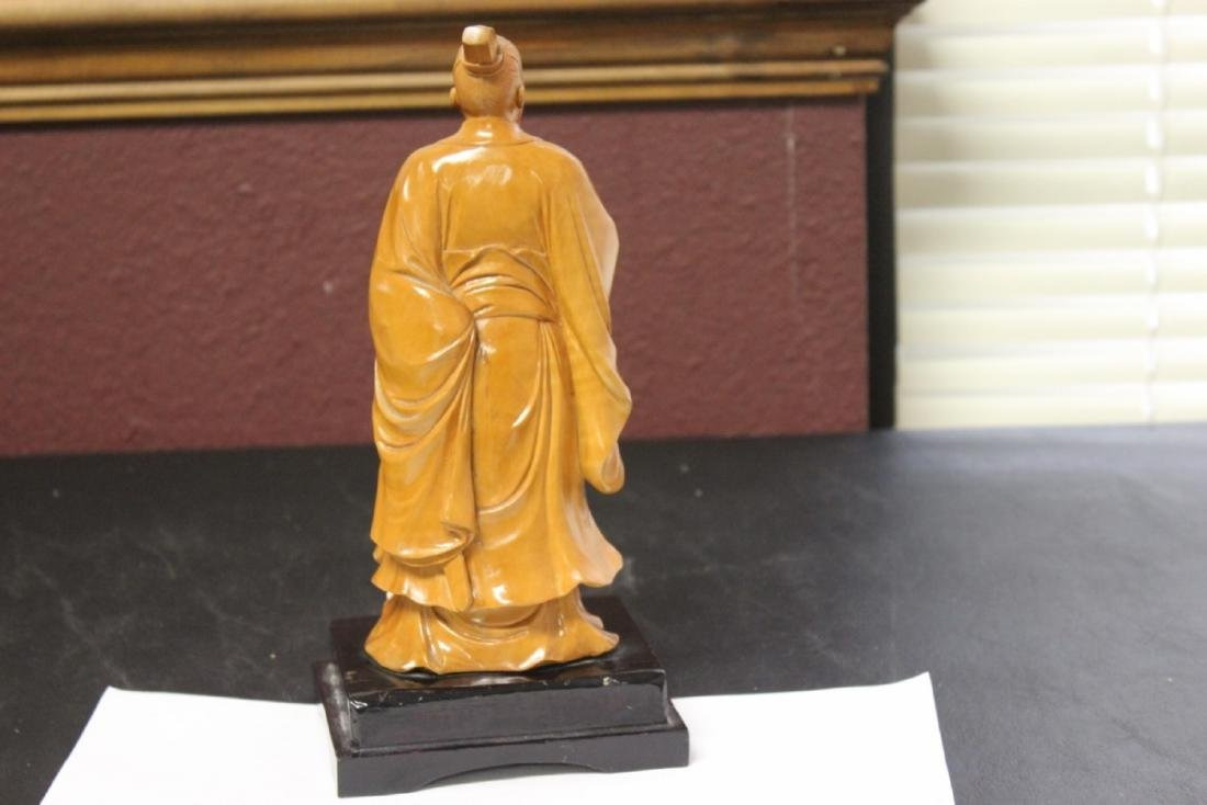 A Well Carved Box Wood Chinese Emperor on Stand - 7