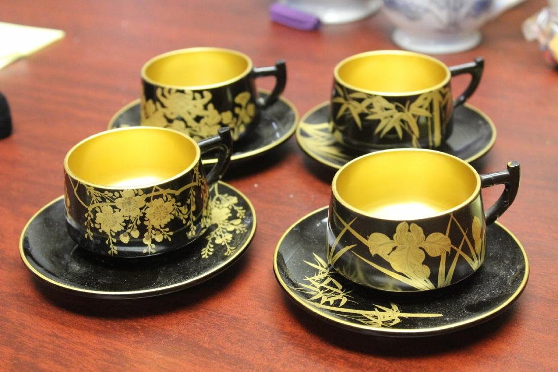 Lot of 4 Lacquer Cup and Saucer