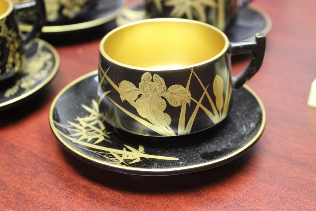 Lot of 4 Lacquer Cup and Saucer - 2