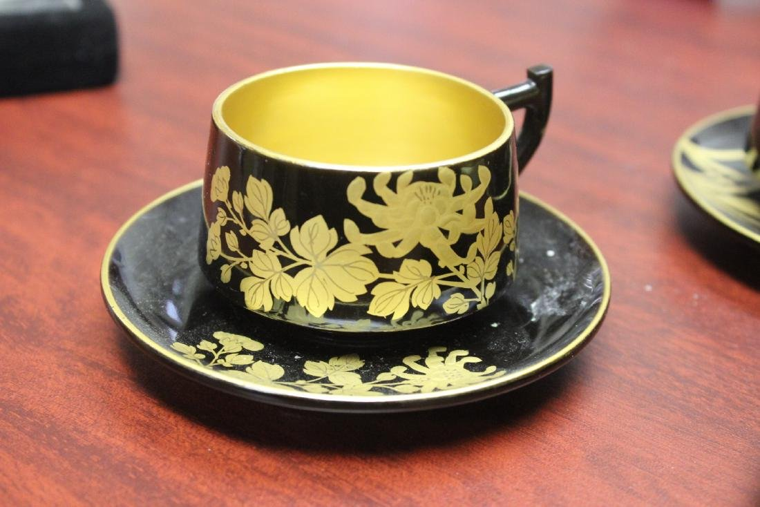 Lot of 4 Lacquer Cup and Saucer - 4