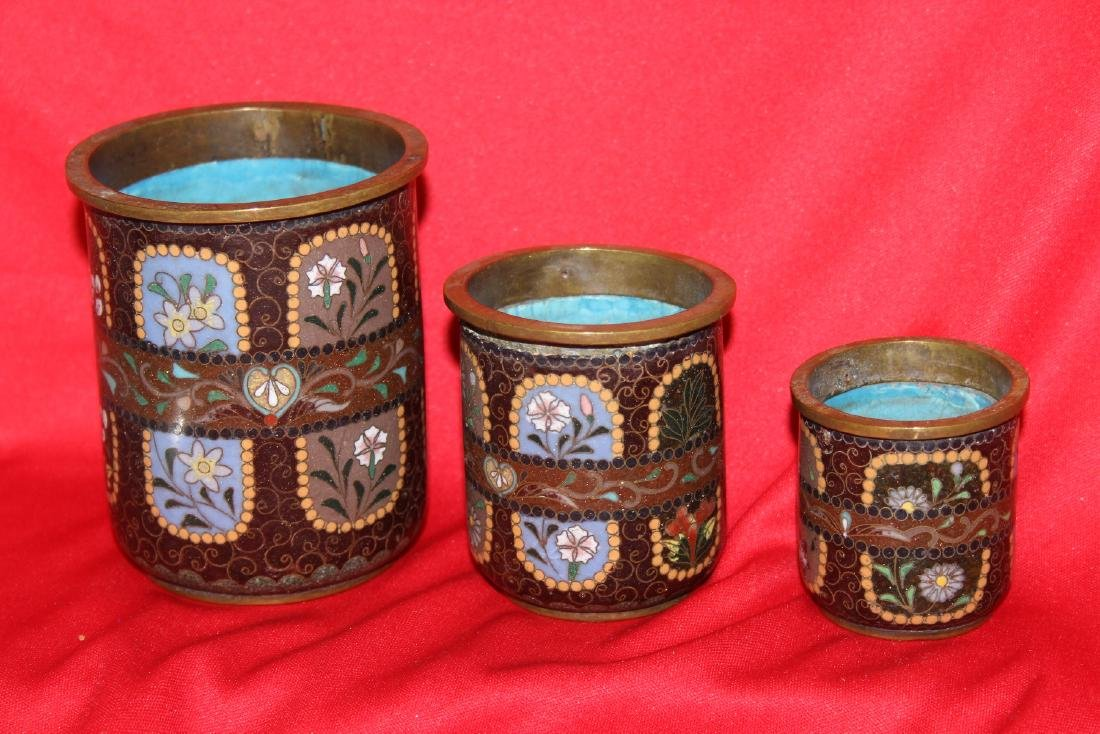 Set of 3 Japanese Cloisonne Cylinder Container