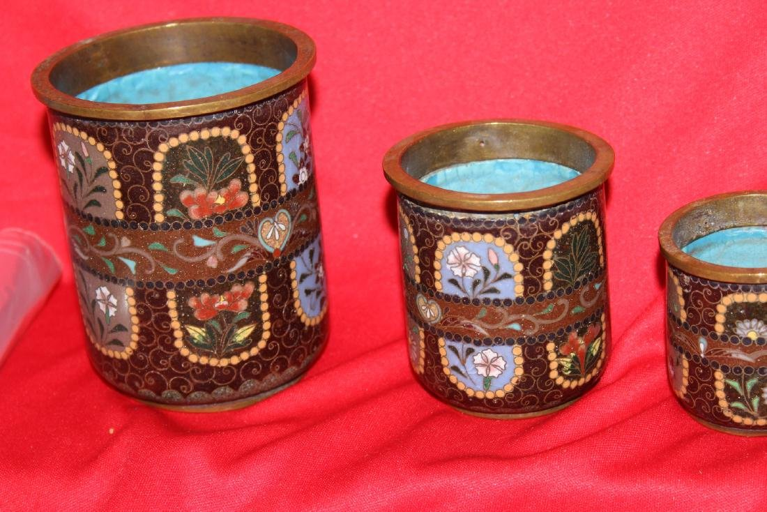 Set of 3 Japanese Cloisonne Cylinder Container - 2