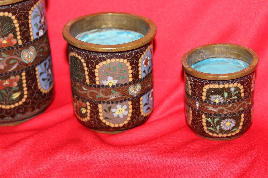 Set of 3 Japanese Cloisonne Cylinder Container - 3