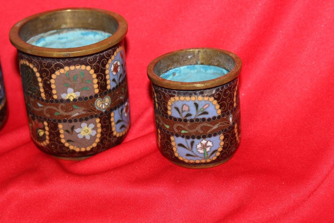 Set of 3 Japanese Cloisonne Cylinder Container - 4