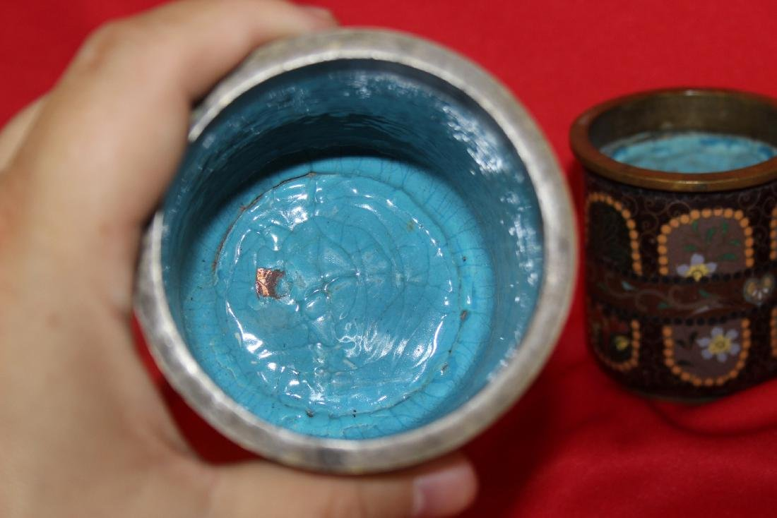 Set of 3 Japanese Cloisonne Cylinder Container - 6