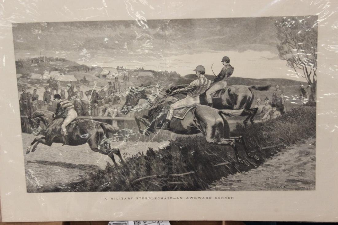 """A 19th Century Engraving: """"A Military Steeplechase - An"""