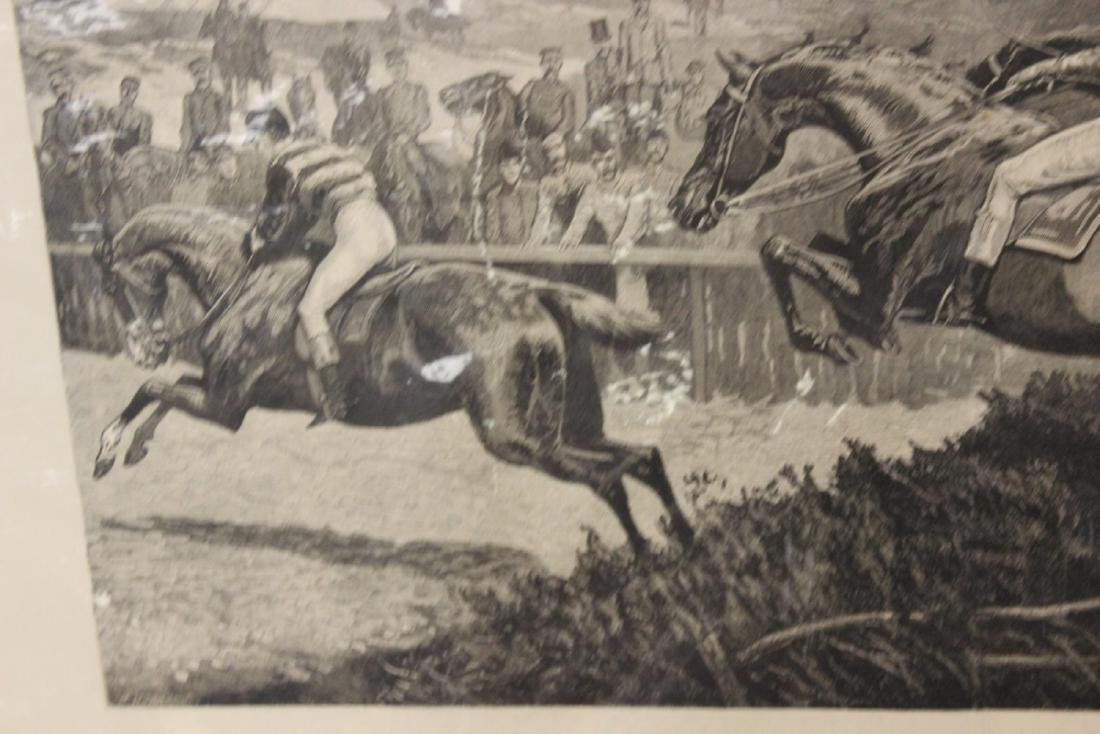 """A 19th Century Engraving: """"A Military Steeplechase - An - 5"""
