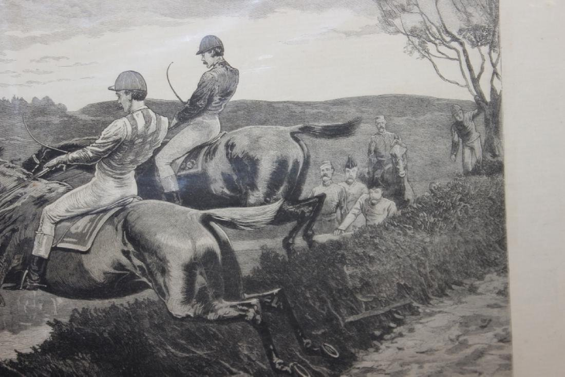 """A 19th Century Engraving: """"A Military Steeplechase - An - 7"""