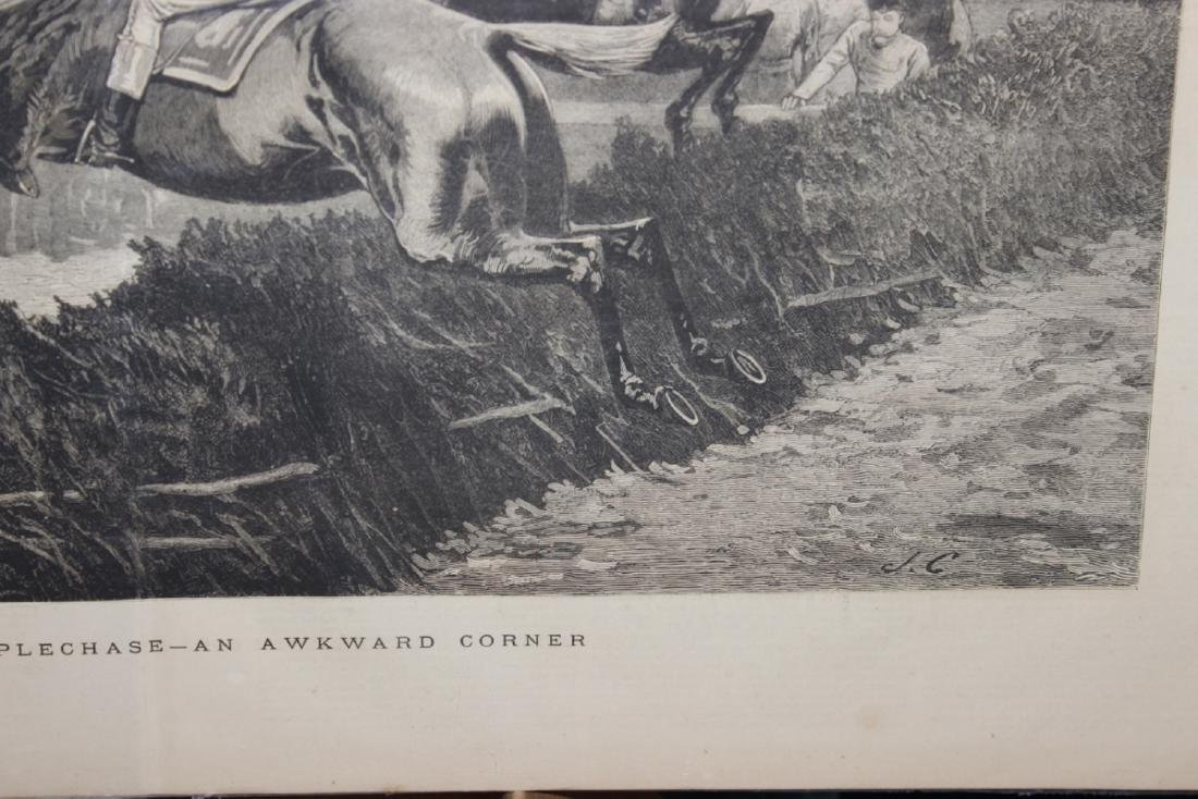 """A 19th Century Engraving: """"A Military Steeplechase - An - 8"""