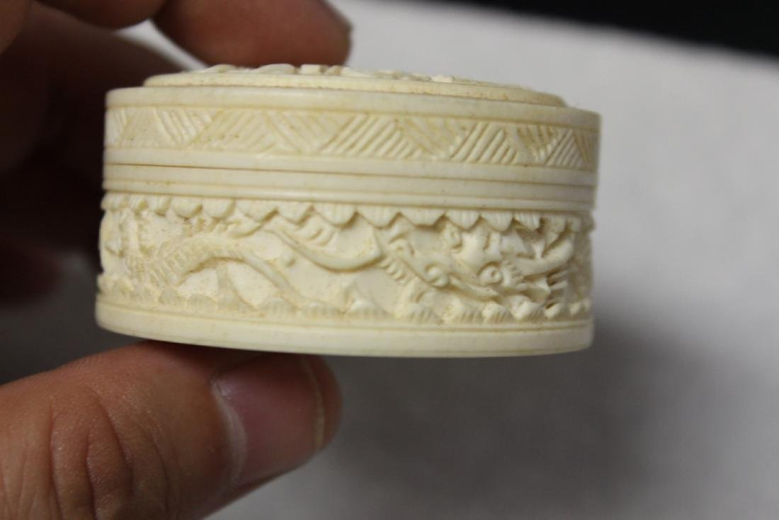 A Chinese Well Carved Bone Trinket or Pill Box - 2