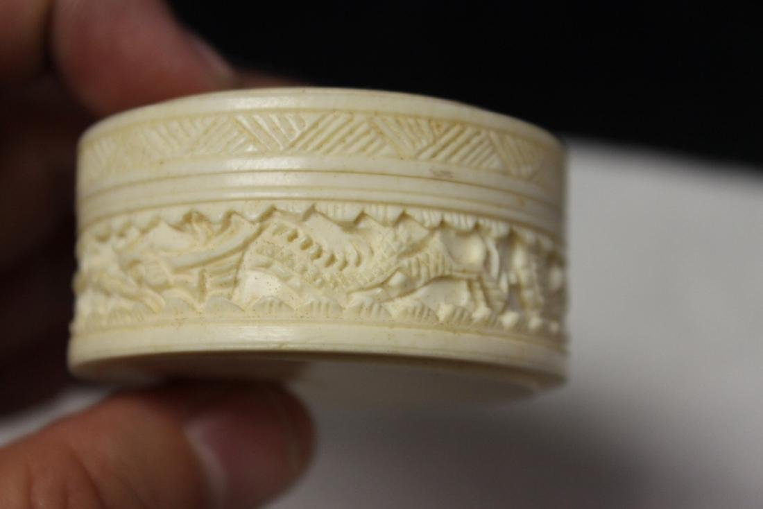 A Chinese Well Carved Bone Trinket or Pill Box - 3