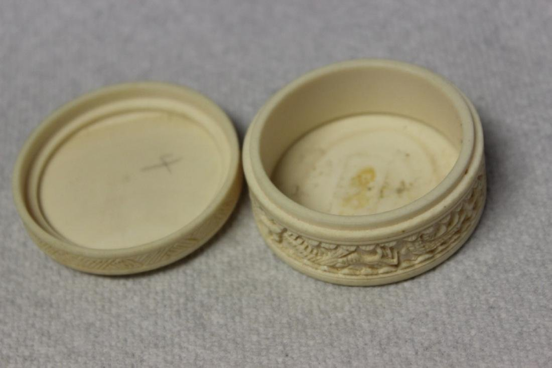 A Chinese Well Carved Bone Trinket or Pill Box - 7